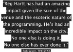 In the opinion of City Inspector Elliott de Barros Reg Hartt is a liar (disingenuous). Mr. de Barros has chosen to be willfully blind to the overwhelming number of people who value Hartt's contributions to the city.